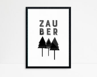 Childrens Wall Art - Zauber Wald - Wall Art - Deutsch