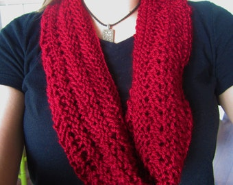 Red Scarf, Knit Infinity Scarf, Red Knit Cowl, Red Infinity Scarf, Gift for Friend, Deep Red Cowl, Red Lacey Scarf, Gift Under 15