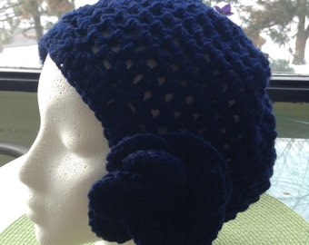 Loose Weave Navy Cloche with Flower