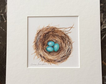 Robin's nest original painting, robin's eggs, egg painting, family of five, siblings, triplets, family room home decor, woodland nursery