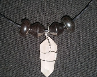 Rose Quartz Pendant with Hematite