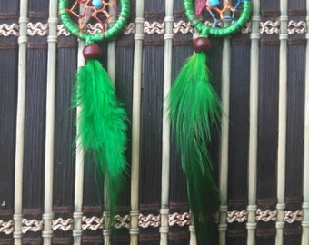 Dream Catcher Green earrings.