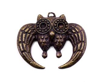 2 Bronze Owl Charms | Bronze Owl Pendant, Owl Pendant, Bronze Owl, Big Owl Charns, Bronze Tone Owl, Big Owl Charms