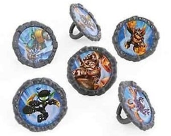 Skylanders Cupcake Rings Birthday Wedding Set of 12 Cup Cake Video Game