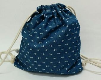 Kid's drawstring bag | Backpack | Denim fishbone pattern