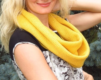 Knit infinity scarf yellow scarf wool cowl scarf neck warmer circle scarf wool scarf women scarf ready to ship birthday gift for womens gift