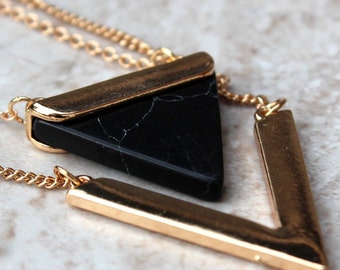 Black Marble Geo Necklace
