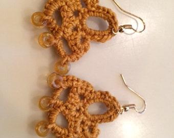 Mustard Yellow Crochet Beaded Earrings