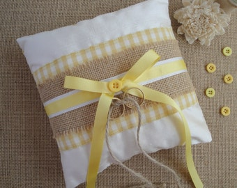 Rustic Ring Bearer Pillow, Country Wedding Ring Pillow, Yellow Wedding Ring Bearer Cushion, Hessian & Gingham Ring Pillow with Ivory Silk