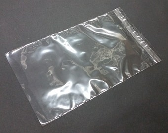"100 Clear 1.6mil Polypropylene Resealable Cello Flat Plastic Bags with 1.5"" Lip & Tape"