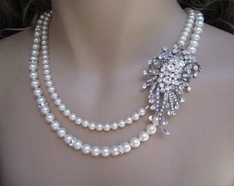 Pearl Bridal Necklace - Vintage Style Pearl Bridal Necklace Crystal Flower Brooch
