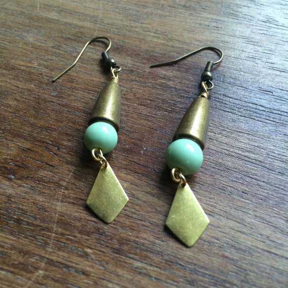 Brass and mint earrings, antique brass, gold tone, green bead - E208A