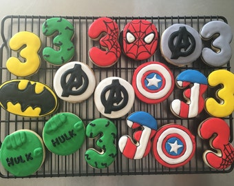 Superhero Avengers Custom Sugar Cookies.  Boy birthday party favors  Order is for one dozen (12) cookies