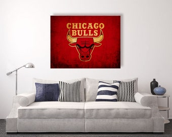 Chicago Bulls vintage style Canvas Print, vintage basketball, basketball room decor, basketball wall decor, basketball gift ideas