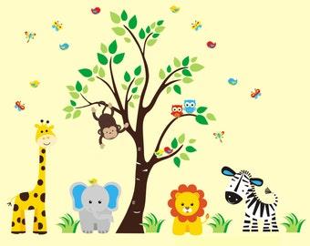 """Kids Room Decals - Children's Animal Decals - Jungle Wall Decals - Safari Wall Decals - Animal Stickers - Nursery Wall Stickers - 86"""" x 97"""""""