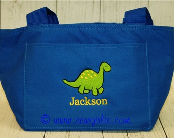 Monogrammed Dino Lunch Tote