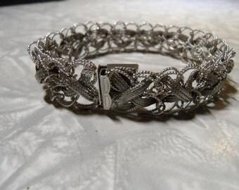 Vintage Woven Sterling Silver Bracelet