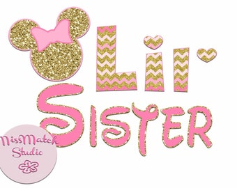 Minnie Mickey Mouse Little Lil Sister Shirt DIY Iron On Digital Art Little Sister Matching Pink Gold Pregnancy Announcement