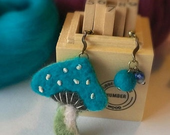 Wool felt earrings