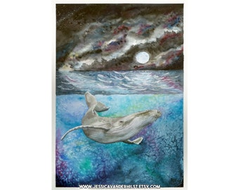 "8""x12"" Art print: Humpback whale in ocean under starry night sky and moon, watercolour painting 