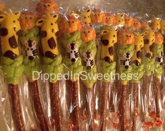 Jungle animals chocolate covered pretzels- 1 dozen