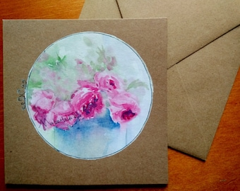 Hand painted watercolour greeting card