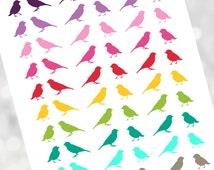bird stickers, bird printable, bird colorful, bird erin condren, bird printable stickers, bird decorative stickers, bird kit