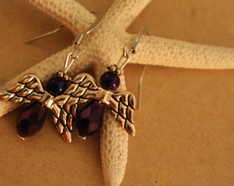 Purple Angel Earring Set