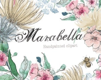 Hand-Painted Clipart - Watercolor Flowers - Marabella. Hand drawn set containing a floral wreath and floral bouquet, plus floral elements.