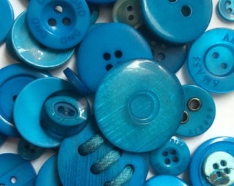 Assorted Mixed Buttons - 50g bag - BLUES