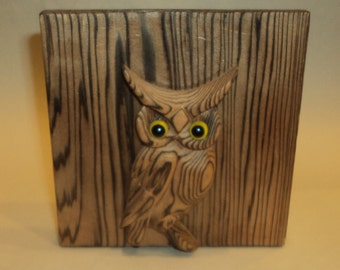 "Vintage Witco Wood Owl Bookend C000L 5"" x 5"" Mid Century Rustic Kitch"