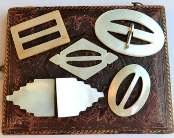 Vintage Mother of Pearl Buckles 5 Different Buckles Vintage Supplies