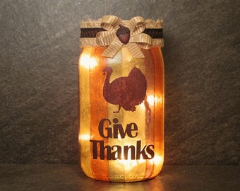Give Thanks Thanksgiving Light, Turkey Light, Thanksgiving Table Light