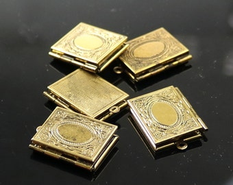 Book locket etsy 5 pcs antique gold book locket pendant charm 20x27mm 43mm thickness brass locket aloadofball Gallery