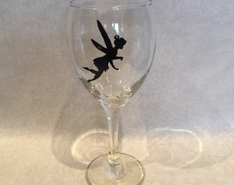 Tinkerbell hand painted large wine glass