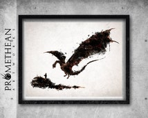 The Hobbit inspired The Hobbit and Smaug watercolour / watercolor print - 3 FOR 2