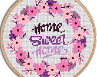 Home Sweet Home Cross Stitch Pattern PDF Instant download Counted cross stitch Flower cross stitch Modern embroidery Wedding cross stitch