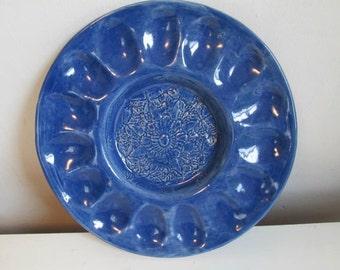 Deviled Egg Dish in Blue