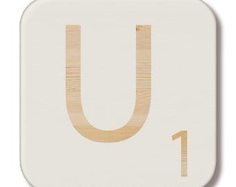"""Wooden """"U"""" Scrabble letter"""