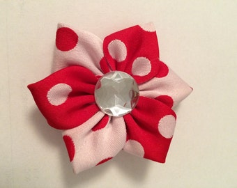 Red and White Polk a Dot Barrette