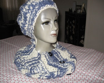 15 X 30 cowl and Hat in 80% wool