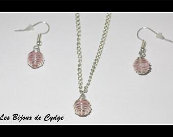 Parure necklace + earrings set pink