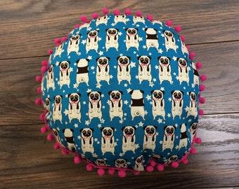 Boho Pug pillow, pug plush, pug cushion, pom pom pillow, pug plush // blue pugs, home decor  (Made to Order)
