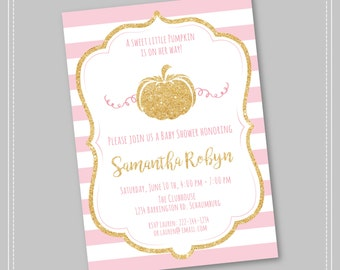 20% OFF Pumpkin Baby Shower Invitation, Pink and Gold Baby Shower, Fall Baby Shower Invitation, Little Pumpkin, Fall Girl Baby Shower