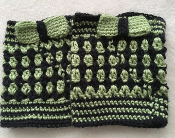 Boot cuffs, black and green with bow detail