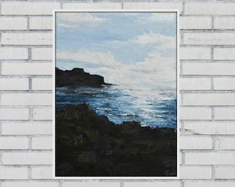 "Seascape Painting ""Giant's Causeway"", Northern Ireland landscape psinting, Antrim, Irish Landscape, Black White Blue, original hand made art"