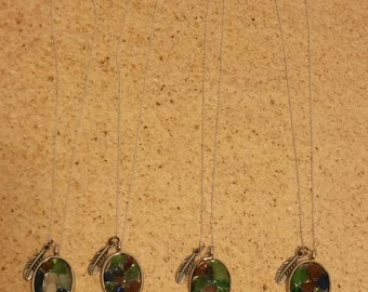 Stained Glass Seaglass Pendant necklaces.