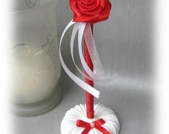 Red White ROSE wedding pen set