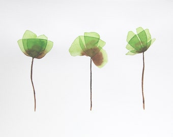 Original Watercolor Painting, Not Print, 12.6inches x 9.4inches, 3 Poppies May Green, 05112014506mBLM3MG