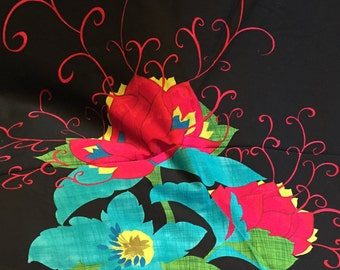BEAUTIFUL FLOWER PANEL, Michael Miller, Black Background with multicolored flower,100% Cotton